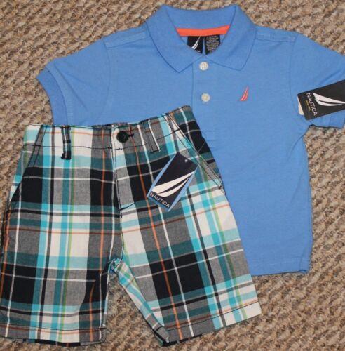 - Size 12 mo Boys Nautica Summer Outfit POLO Shirt, Plaid Shorts; Blue New