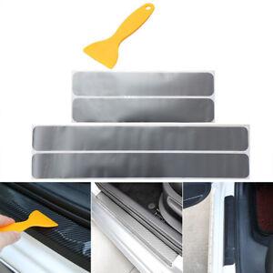 4x Einstiegsleiste Tür Leisten Verkleidung Design Folie Rakel Silber Grau Matt
