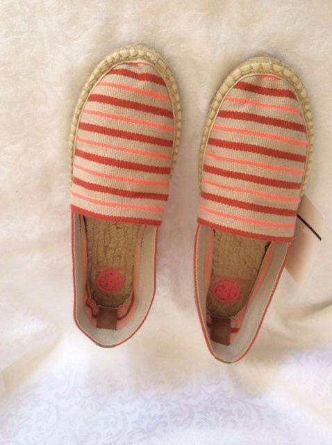 NIB TORY BURCH Slip-On Flat Espadrille Shoes Linen Fluo Pink-Masai Shoes Espadrille Sandals 5f4e1b