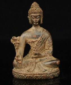 China-Old-Collectible-Hand-carved-Red-Copper-Buddha-Statue-Desktop-Ornament