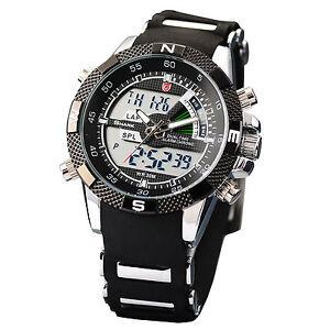 New-Mens-SHARK-Dual-Time-LCD-Digital-Analog-Quartz-Sport-Wrist-Watch-Rubber-Band