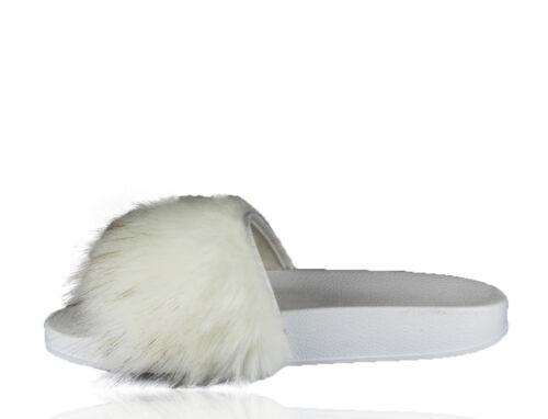 Uk femmes lacet plat fourrure caoutchouc slider long fourrure chaussons rihanna sandale femme