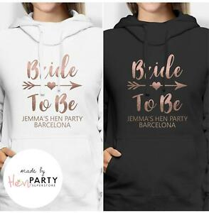 Personalized Metallic GoldBride To Be Hoodie Theme Hen Night Tops Hen Night Party Tops Bridal T-shirts Matching Bride Tribe Design!