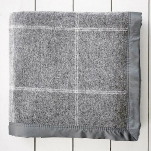 Gainsborough 350gsm Australian Wool Blend Check Blanket Queen//King Bed Size