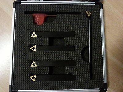 Amadeal 5pc Indexable Carbide Lathe Tools 8mm set (with Boring Bar)  TiN coated