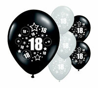 "8 x 18TH BIRTHDAY BLACK AND SILVER 12"" HELIUM OR AIRFILL BALLOONS (PA)"