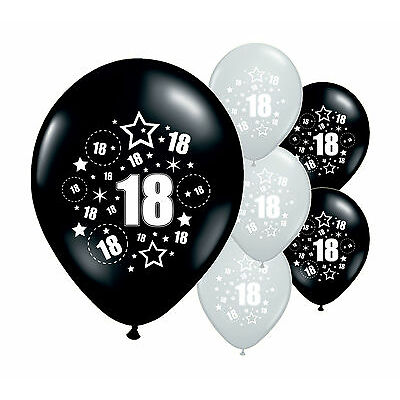 "30 x 18TH BIRTHDAY BLACK AND SILVER 11"" HELIUM OR AIRFILL BALLOONS (PA)"