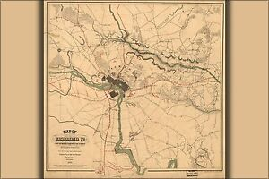 Many Sizes; Map Of New Market Poster Virginia Battlefield 1864