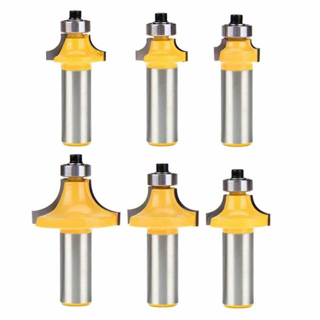 6pcs 1//2 Inch Shank Roundover Router Bit Set Tungsten Woodworking Tool NEW