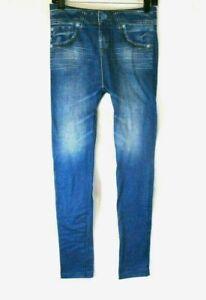 77206e2568b Genie Womens Leggings Jeggings Stretch Blue Sz L XL Pull On Plush ...
