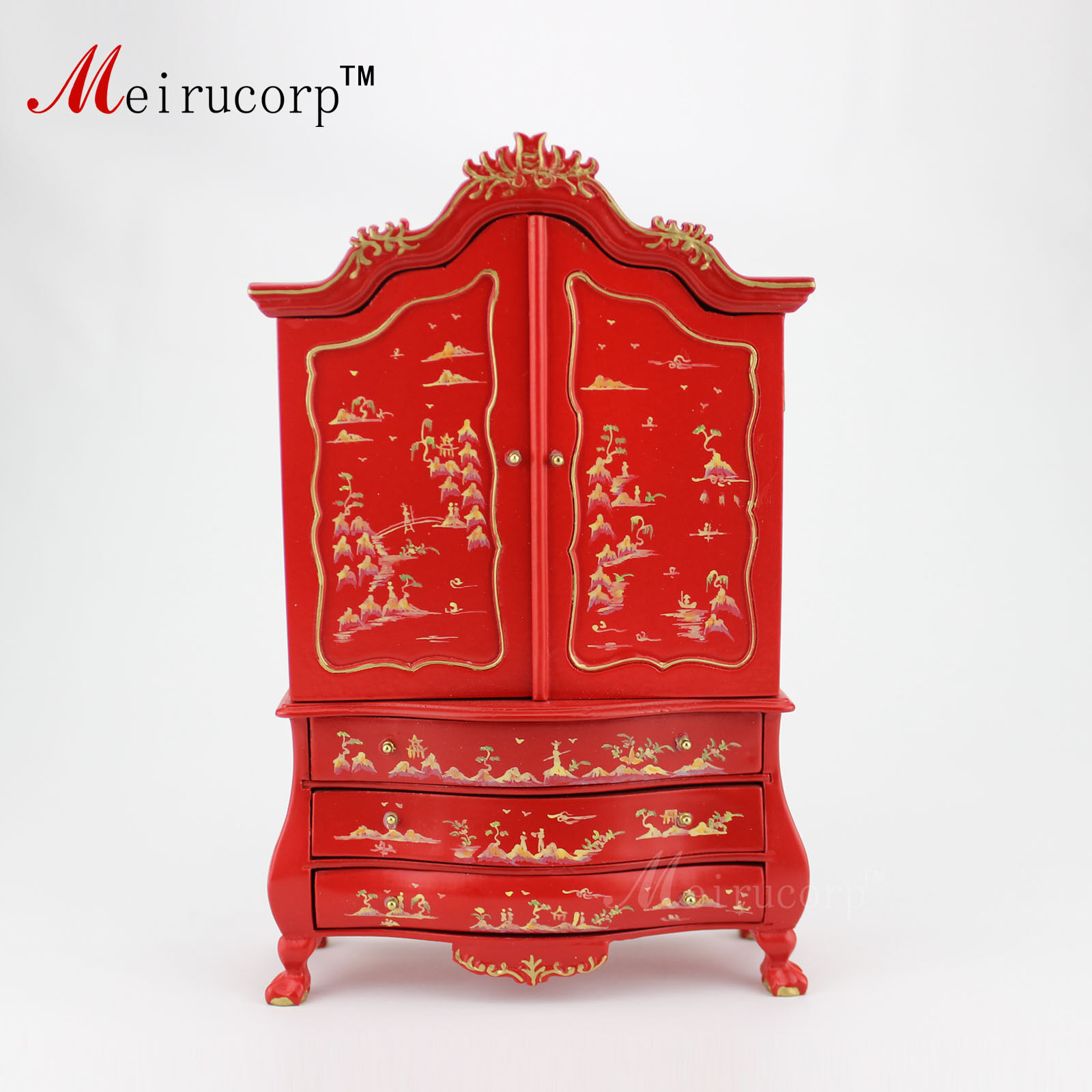 Dollhouse 1 12th Miniature furniture Superiorquality Handpainted red cabinet