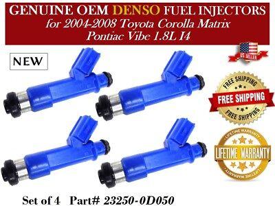 4 Fuel Injectors OEM DENSO for 2003-2006 Toyota Matrix 1.8L I4 #23250-22040