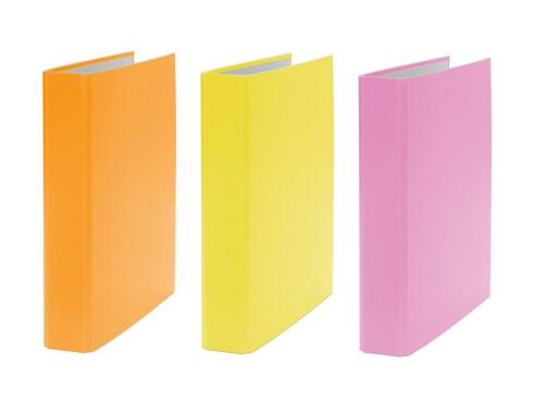 DIN A5 gelb und pink 3x Ringbuch je 1x orange 2-Ring Ordner Farbe