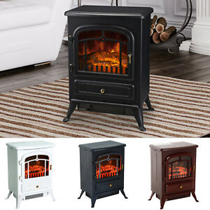 HOMCOM-750-1500W-Portable-Electric-Fireplace-Stove-Heater-Adjustable-LED-Flames