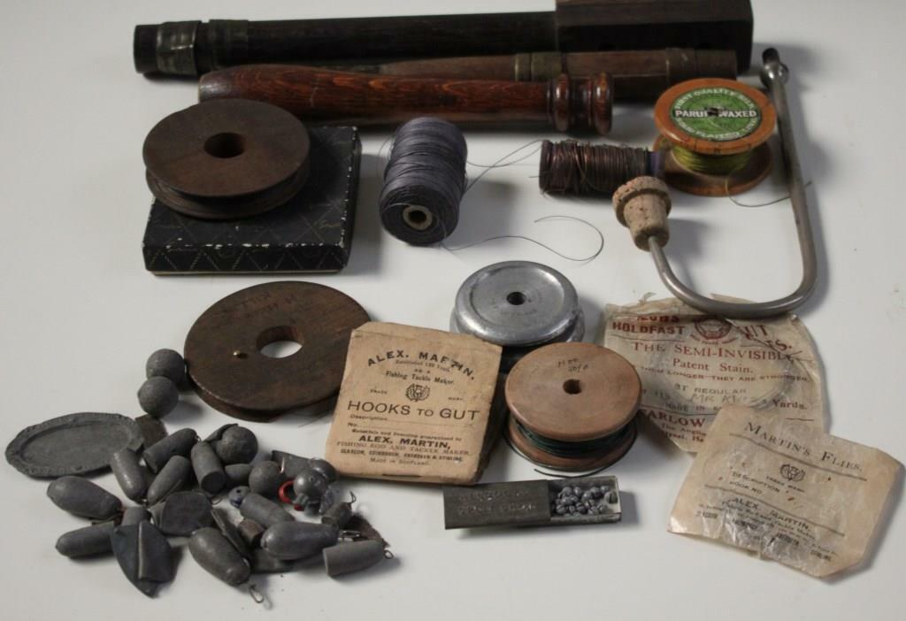 JOB LOT   ANTIQUE COLLECTION OF FISHING GEARS - RARE - [PL740]