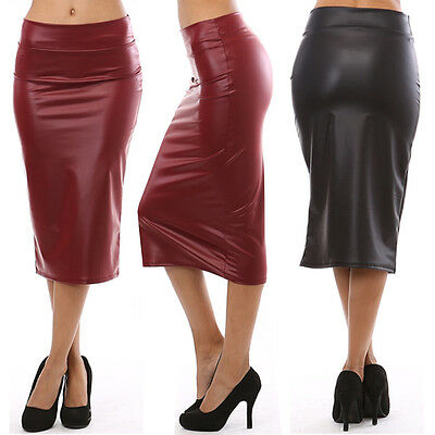 Career Women Faux Leather High Waist Straight Knee Length Sexy Pencil Skirt