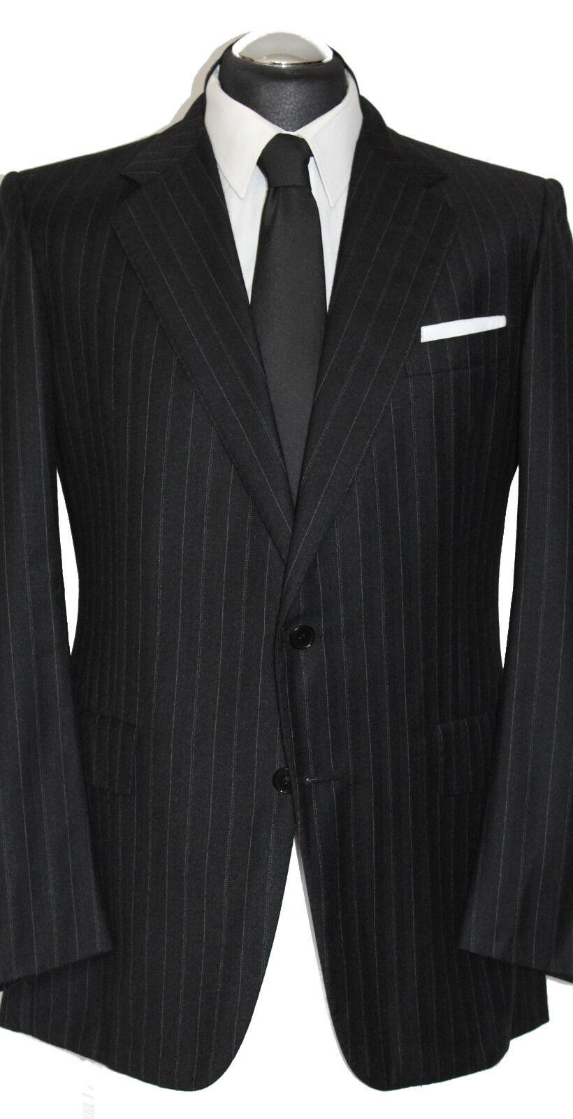 Chester Barrie handmade Anzug Gr. 52 handgenäht 2 Knopf Anthrazit Gürtel Schwarz