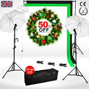 Photo-Studio-Continuous-Lighting-Kit-Black-White-Green-Backdrop-Background-Stand