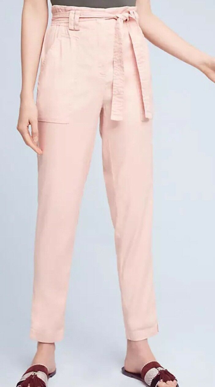 Anthropologie Elevenses Womens Pink Paperbag Waisted Pants Sz Medium