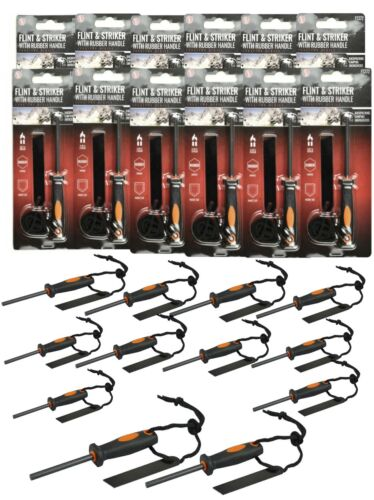 Lot of 12 Emergency Flint Fire Starter W// Rubber Handle Camping Survival Bug-Out
