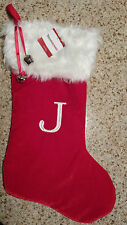 "MONOGRAMMED PLUSH CHRISTMAS STOCKING w/ Bells, LETTER  ""J""  Xmas Decoration NEW!"
