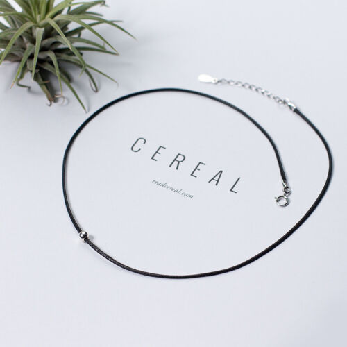 Choker collar bala real Sterling plata 925 collar negro
