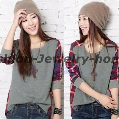 5 Sizes Nice Women Plaid Checked Long Sleeve Casual Loose T shirt Tops Blouse