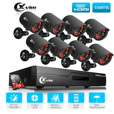 XVIM 1080P HDMI 8CH 4CH DVR Indoor//Outdoor CCTV Security Camera System 1TB US
