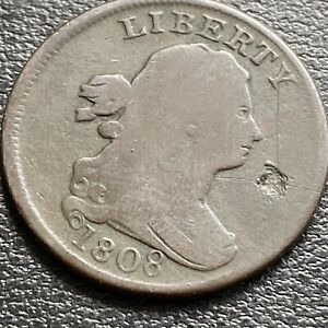 1808 Draped Bust Half Cent 1/2 Cent Better Grade damaged #29038