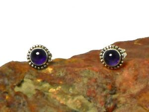 Round-AMETHYST-Sterling-Silver-925-Gemstone-Earrings-STUDS-5-mm