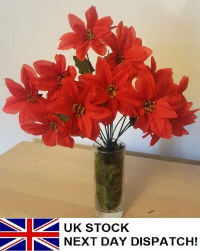 35 cm Poinsettia fleur artificielle Bouquet de Noël Ivy Fern festif rouge 9 têtes
