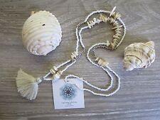 Tassel Necklace Fluffy Vanilla White Shell Silver Seed beads Beach Wear Handmade