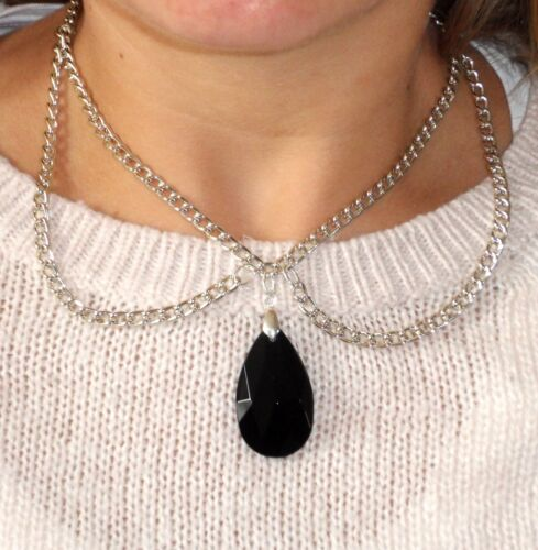 Black Faceted Crystal Drop Peter Pan COLLAR Necklace - UK - FREE 1ST CLASS P&P