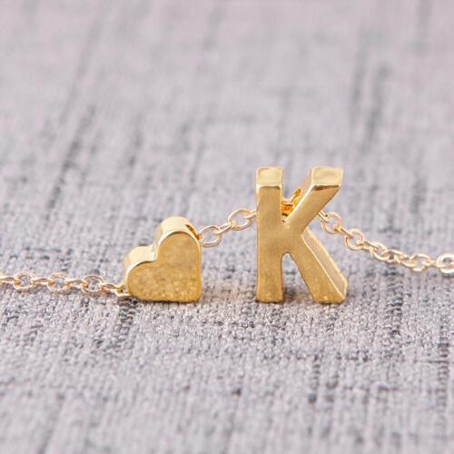 A-Z 26 lettres avec amour cœur Femmes Collier Pendentif pour la saint valentin Day2018