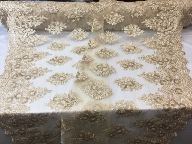 Lace Fabric Sequins Mesh For Dress Decoration /& Bridal Veil Champagne By 1 Yard