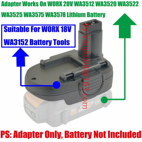 1PCS WORX 18V WA3152 Ni-CD Adapter Work with 20V WA3512//3522//3575 Li-Ion Battery