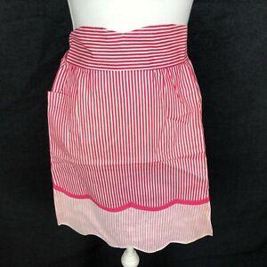 Vintage 1950s PINK Half Waist Apron Candy White Stripe w Pocket Scalloped Bottom