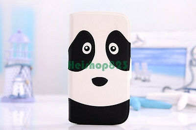 Cute Cartoon Animal Face Flip Wallet Stand Leather Case Cover For Apple Samsung