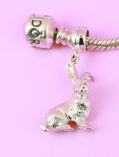 SOLID Sterling Silver 3D RABBIT BUNNY Pet Animal Charm Bead Pendant Fit Bracelet