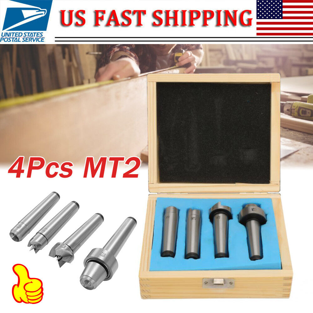 4Pcs MT1 MT2 Wood Metalworking Lathe Live Center Drive Spur Cup Kit Turning Tool
