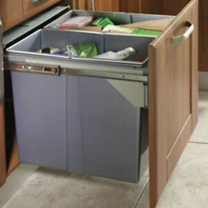 kitchen recycling bins for cabinets 90 ltr recycle bin pull out kitchen integrated 600mm base 21966