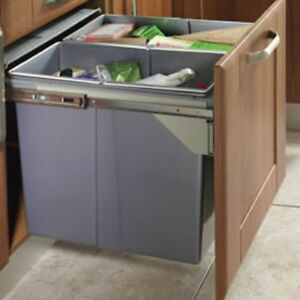 90 LTR RECYCLE BIN PULL OUT KITCHEN INTEGRATED 600MM BASE UNIT ...