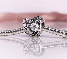 New Genuine Pandora Silver Poetic Blooms Heart Charm 791825ENMX