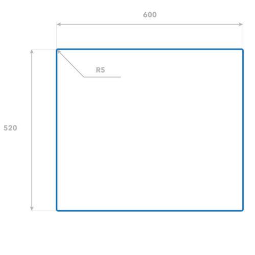 Glas-Herdabdeckplatte Ceranfeldabdeckung Spritzschutz 60x52 Metallcurve