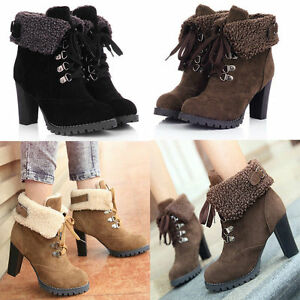 88e9ab776963 Women High Heels Fur Lining Winter Ankle Boots Lace Up Faux Suede ...