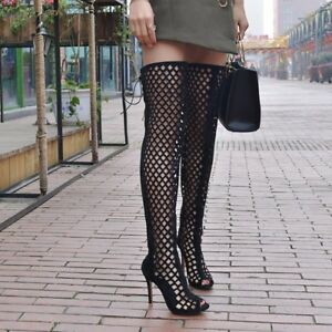 UK-Women-Open-Toe-Thigh-High-Knee-Boots-Stilettos-Heels-Hollow-Out-Shoes-Lace-up