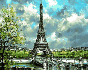 """Painting Supplies Dutiful Morning Eiffel Tower Paint By Number Kit 16x20"""" Acrylic Painting On Canvas 2080"""