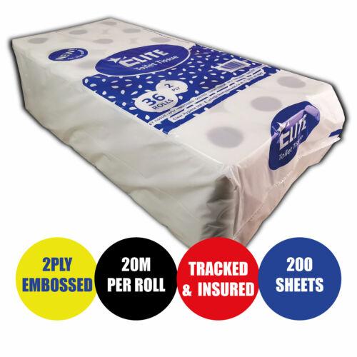 36 Toilet Rolls ELITE™ 2ply Tissue Paper Luxury Quilted Paper 20m