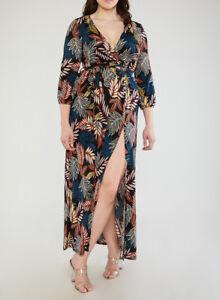 Details about Plus Size Burgundy & Black Leaf High Split Maxi Wrap Dress 1XL
