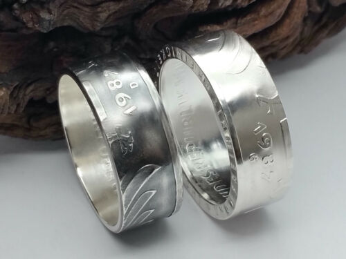 Münzring • 1998 • BRD 5 Mark mit Datum Kursmünze 24 Karat versilbert Ring